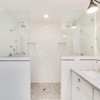 White Beveled Subway Tiled Pony Wall  Transitional  Bathroom