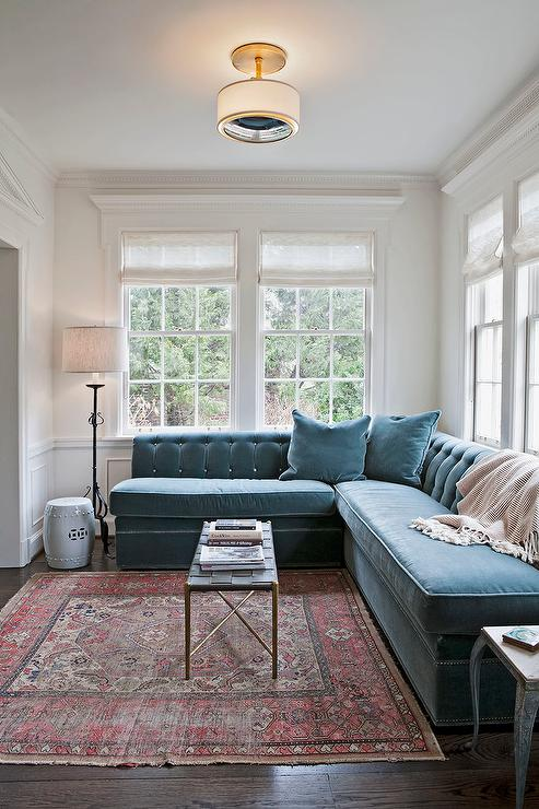 what size rug for living room sectional entertainment furniture peacock blue velvet tufted with herringbone throw
