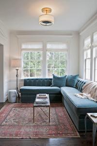 Blue Velvet Sectional Design Ideas