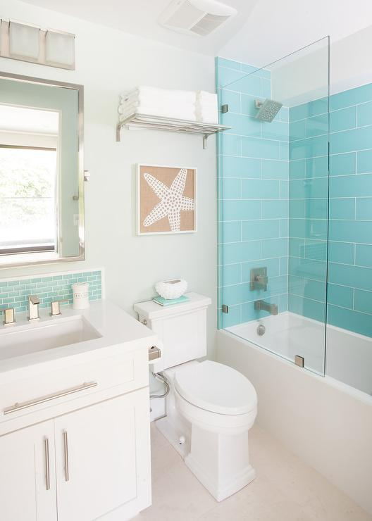 Turquoise Glass Shower Tiles with Glass Partition
