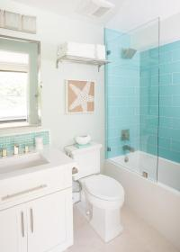 Turquoise Glass Shower Tiles with Glass Partition ...