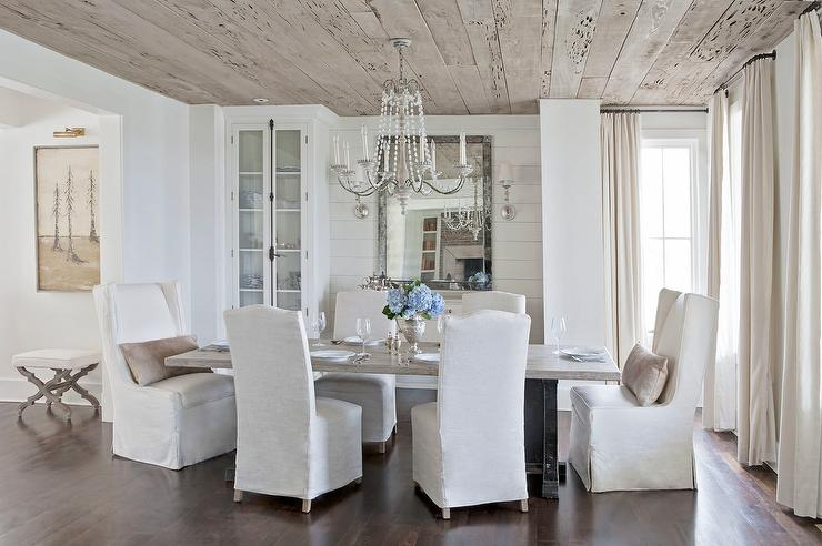 White and Beige Dining Room with China Cabinet  Country