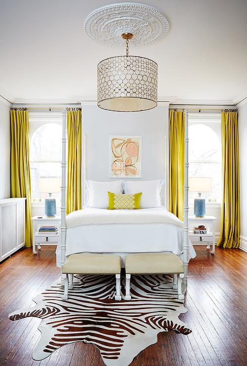 White Bedroom with Canary Yellow Curtains  Contemporary