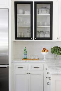 White Kitchen Cabinets with Black Doors - Transitional ...