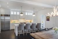 White Kitchen Island with Gray Velvet Counter Stools ...