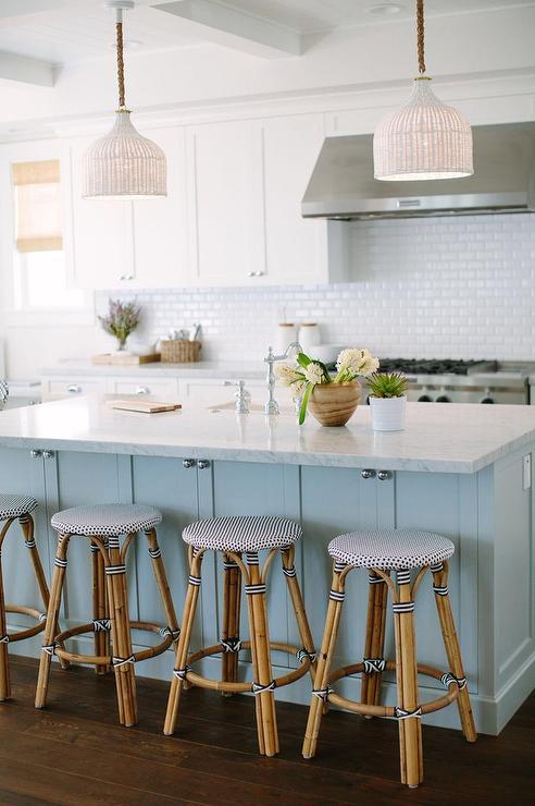 kitchen bistro sets sink grinder blue center island with palecek taza white pendants ...