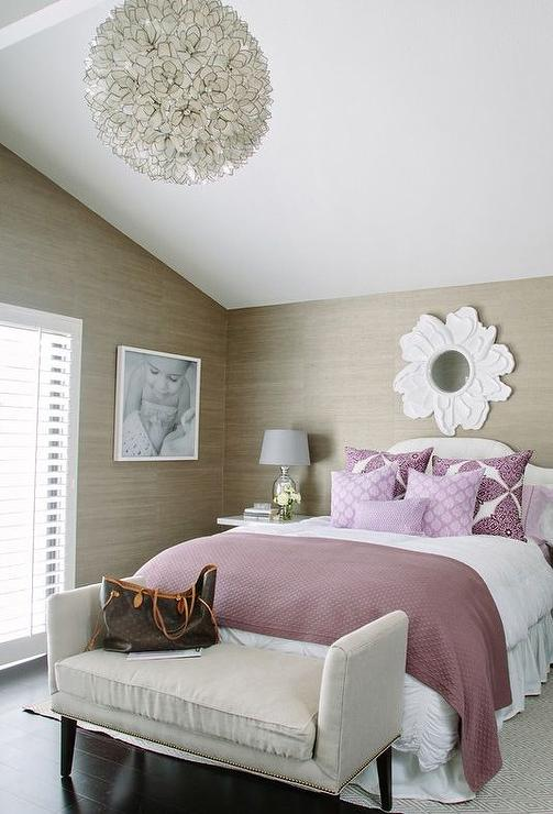 Purple And Taupe Bedroom With Grasscloth  Contemporary