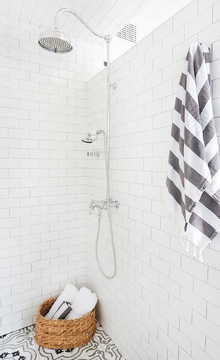 gray moroccan shower floor tiles
