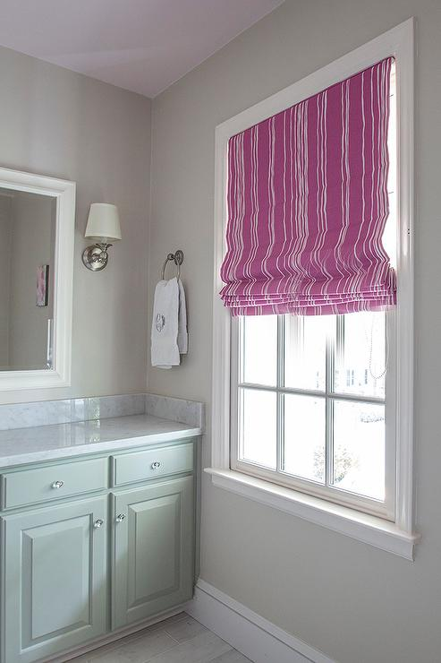 Pink and Green Kids Bathroom with Lilac Painted Ceiling  Contemporary  Bathroom