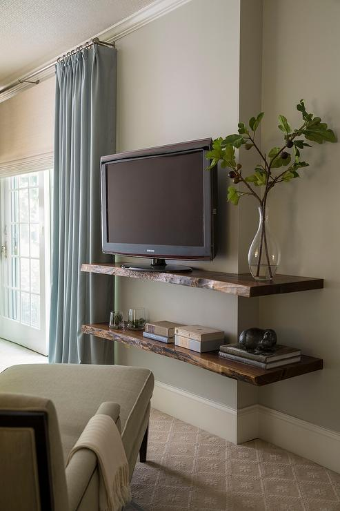 Live Edge Wall Shelf With TV Transitional Bedroom