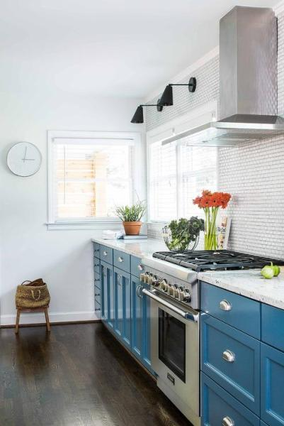 white kitchen cabinets blue countertops Blue Base Cabinets with White Granite Countertops