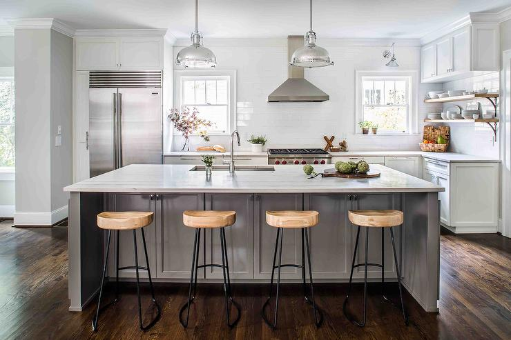 Gray Kitchen Island with Wisteria Smart and Sleek Stools