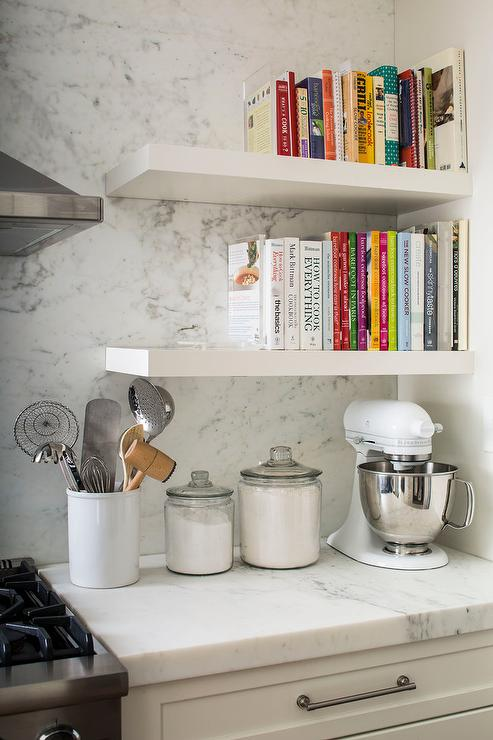 Stacked Floating Cookbook Shelves Next To Stove