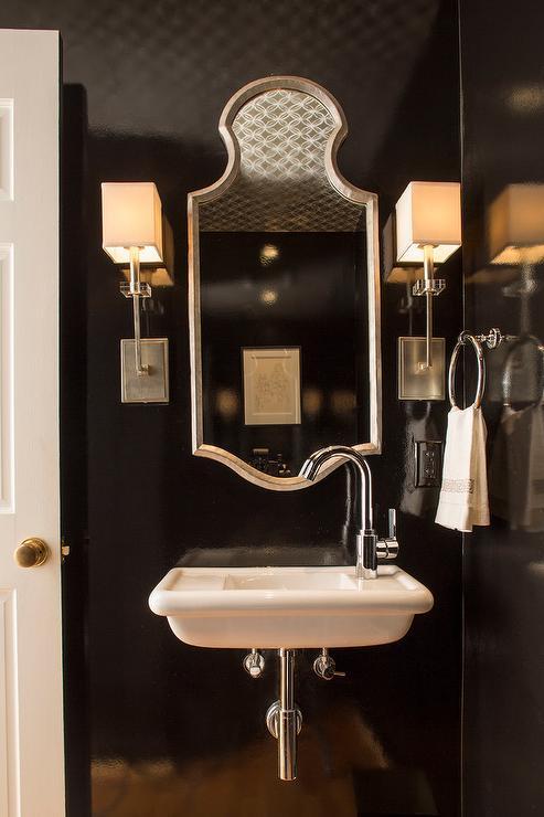 Glossy Black Powder Room Walls with Wall Mount Sink  Contemporary  Bathroom