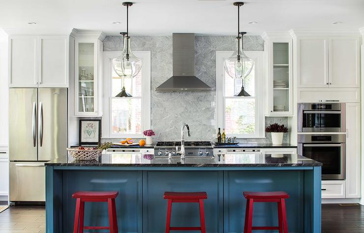 red kitchen islands small cabinets blue island with sawhorse stools contemporary