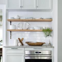 Wood Shelves Kitchen Appliance Storage Stacked With Iron Brackets Transitional