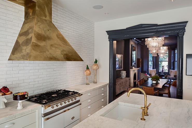 White and Gold French Stove with Gold Range Hood
