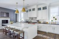 Kitchen Fireplace with Flatscreen TV - Transitional - Kitchen