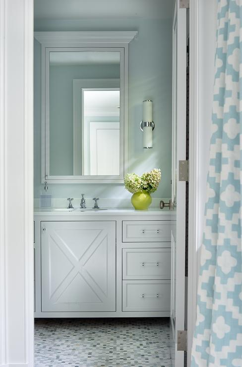 Turquoise Bathroom with Gray and Blue Penny Tiled Floor  Contemporary  Bathroom