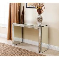 Abbyson Living Venice Studded Mirror Silver Sofa Table