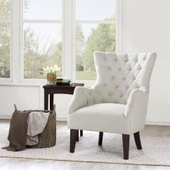 White Tufted Chair Zero Gravity Rocking Hannah Off Wing