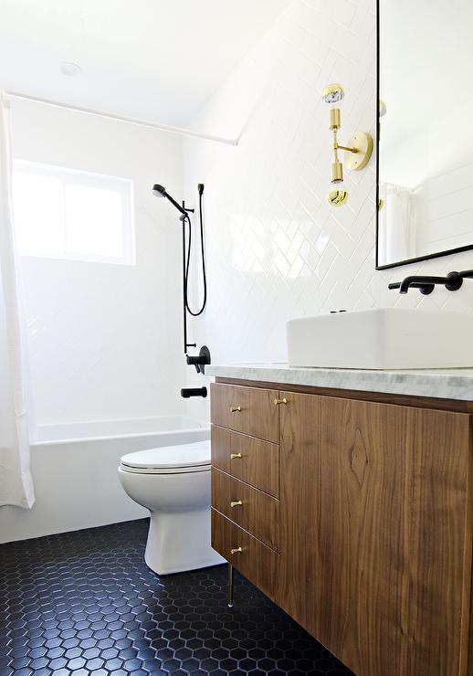 Veneer Washstand with Black Hex Tile Floor  Modern  Bathroom
