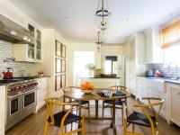 Long Kitchen with Round Dining Table and Wishbone Chairs ...