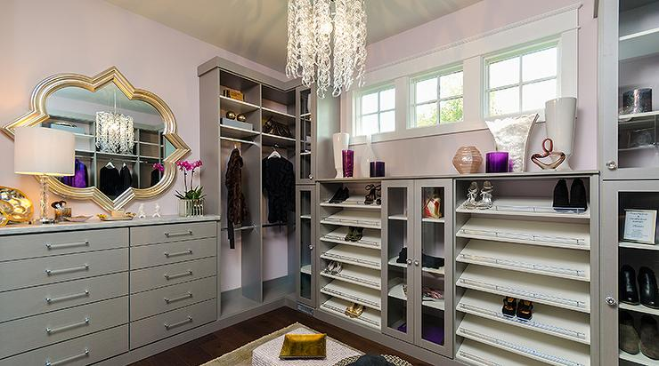 Pink And Gray Closet With Tilted Shoe Shelves