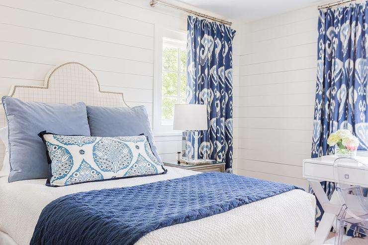 White and Blue Bedroom with Ikat Curtains