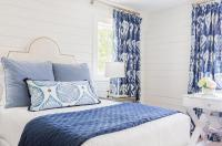 White and Blue Bedroom with Ikat Curtains - Transitional ...