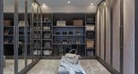 Gray Walk In Closet with Mirrored Wardrobe Doors ...