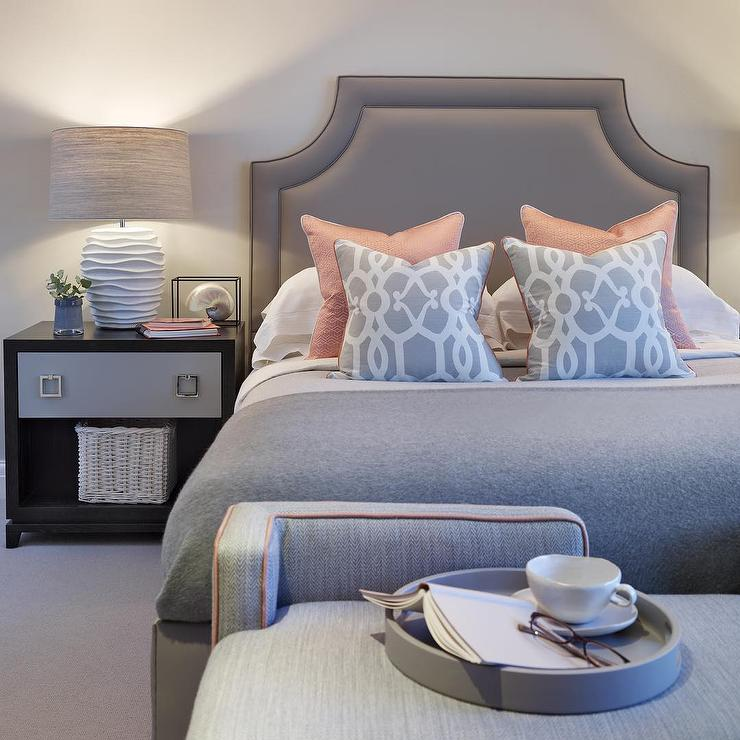 Gray and Pink Bedroom with Two Tone Nightstand