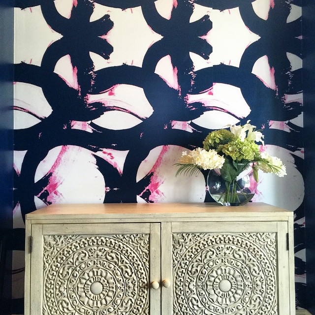 Pink and Navy Brush Strokes Wallpaper  Transitional