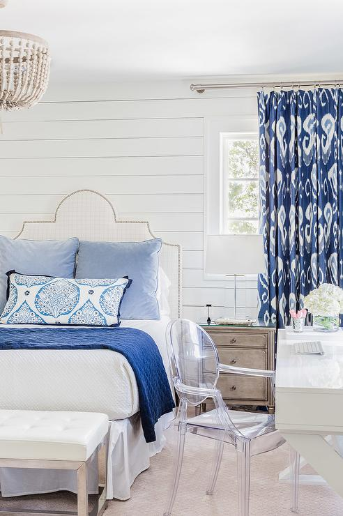White and Blue Bedroom with White Lacquer Desk