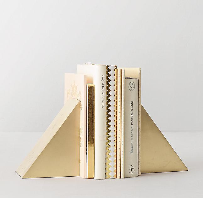 Modern Nursery Wallpaper Girl Geometric Cast Metal Brass Bookends