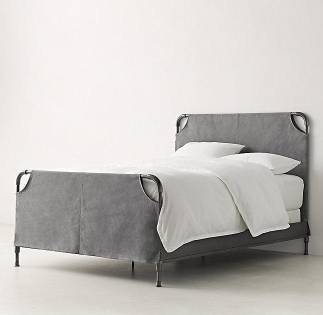 Vox Graphite Iron Slipcovered Bed