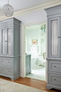 Tall Gray Cabinets with Chicken Wire Doors - Transitional ...
