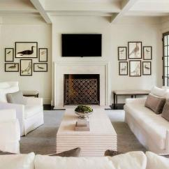 How To Decorate Living Room With Tv Over Fireplace Modern Corner White Transitional
