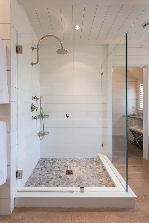 Shower with Bardiglio Marble Hex Tile Floor