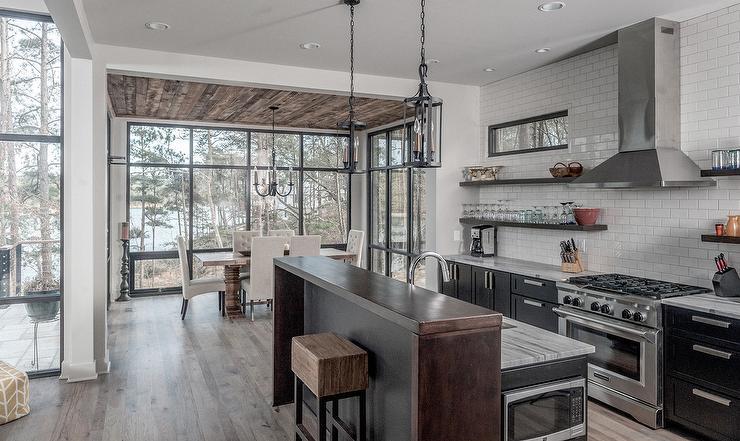 Black Kitchen Island with Breakfast Bar  Contemporary