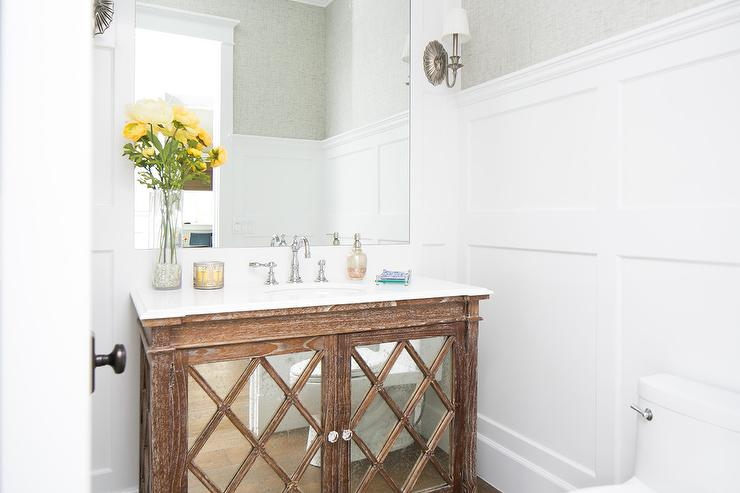 Board And Batten Powder Room With Mirrored Vanity