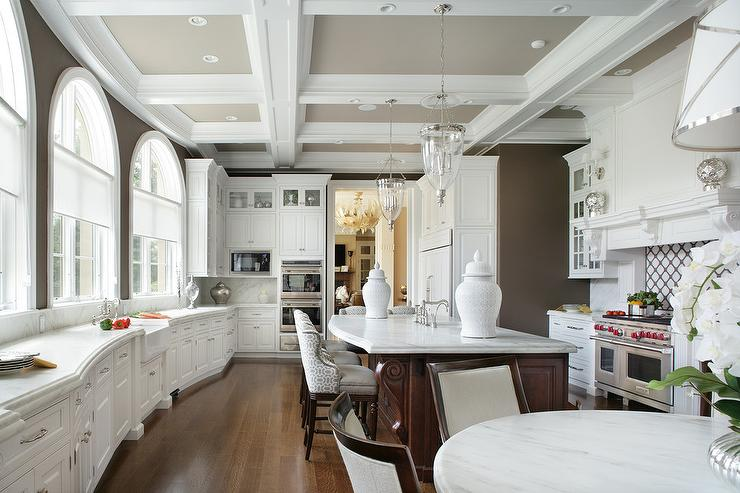White and Brown Kitchen with Coffered Ceiling