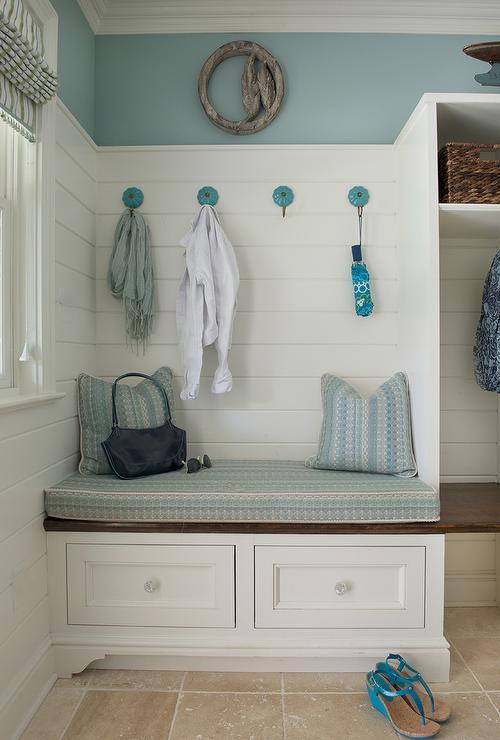 Blue Mudroom with Shiplap Backsplash  Cottage  Laundry Room
