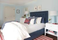 Red and Blue Bedroom with Baby Blue Lamps - Contemporary ...
