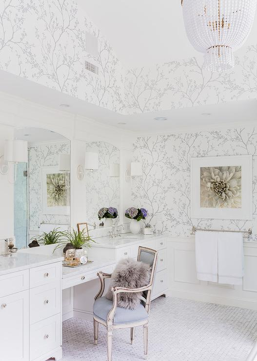 White and Silver Master Bathroom with Schumacher Twiggy