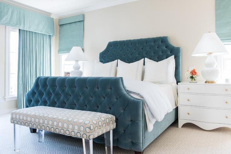 Blue Velvet Tufted Bed with White Curved Nightstands