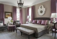 Purple and Gray Bedroom with Mismatched Nighstands ...