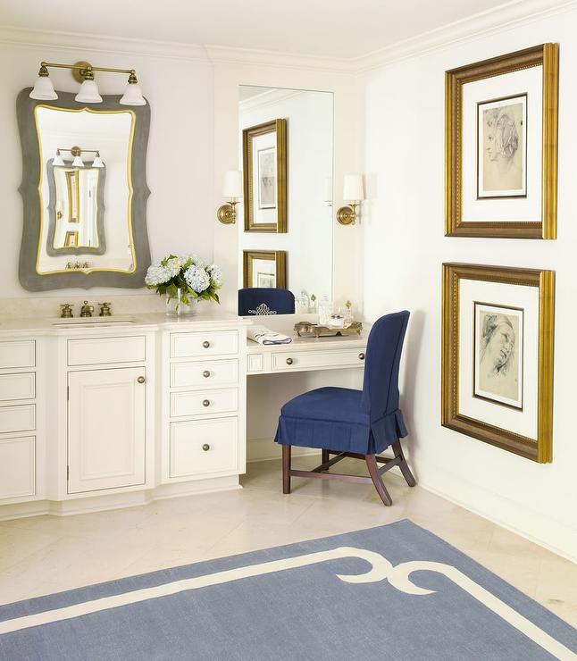 Drop Down Make Up Vanity with Navy Pleated Chair