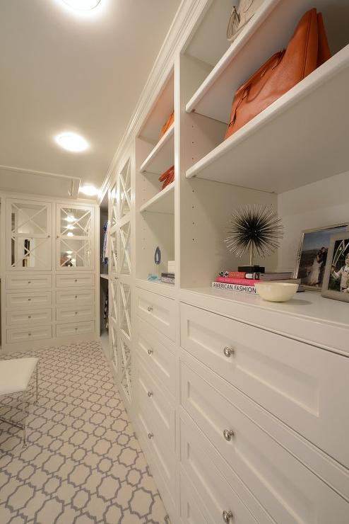 Long Walk In Closet with Geometric Carpet  Transitional