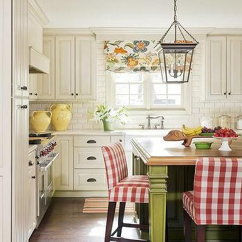 Butcher Block Island With Red Plaid Counter Stools